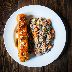 Baked Salmon With Couscous And Vegetables