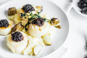 Scallops With Black Caviar