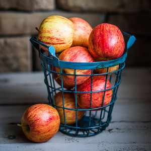 Apples On Wooden Background