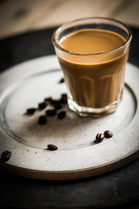 Fresh Coffee On Rustic Background