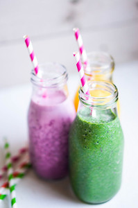 Three Smoothies With Berries