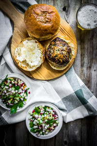 Healthy Homemade Burger On Wooden Background