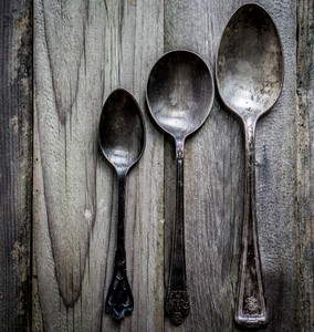 Rustic Silverware Set On Wooden Background