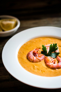 Shrimp Soup With Mussels On Rustic Background