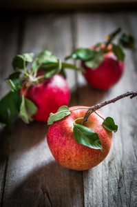 Farm Raised Apples On Wooden Background