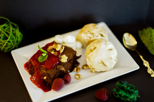 Brownies With Icecream And Raspberries
