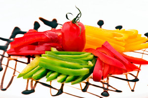 Red, Yellow, And Green Sliced Peppers