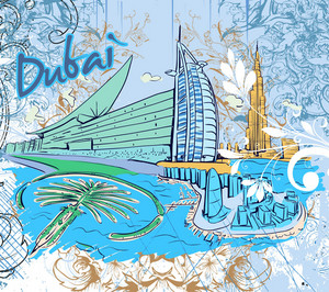 Dubai Doodles Vector Illustration