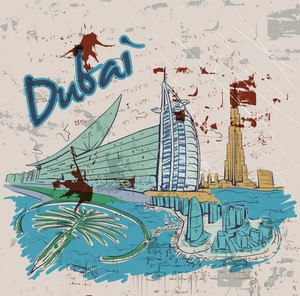 Dubai Doodles With Grunge Background Vector Illustration