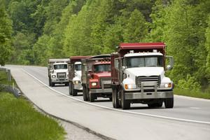 Dump Trucks On Highway