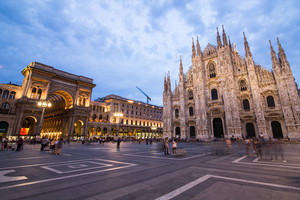Duomo Milan Cathedral on sunset, Italy