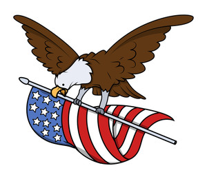 Eagle Bird Flying With Usa Flag Vector
