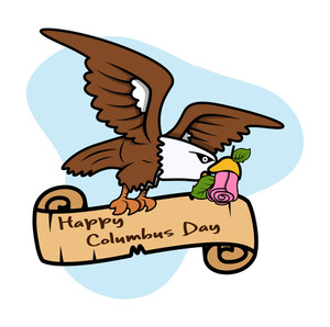 Eagle Flying With Columbus Day Banner