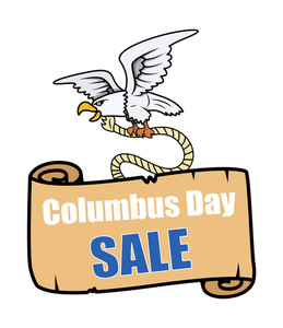 Eagle Flying With Columbus Day Paper Sale Banner