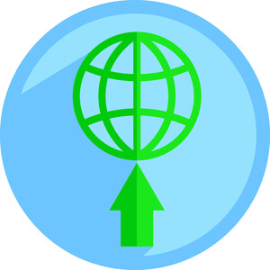 Earth On Arrow Icon