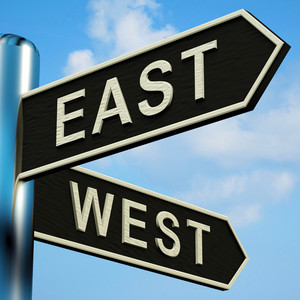 East Or West Directions On A Signpost