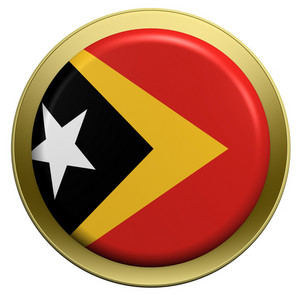 East Timor Flag On The Round Button Isolated On White.
