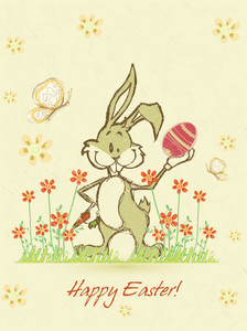 Easter Background With Bunny Vector Illustration