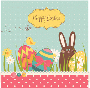 Easter Background With Cute Chocolate Rabbit