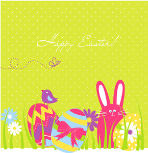 Easter Background With Cute Rabbit