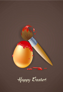 Easter Background With Egg And Brush Vector Illustration