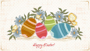 Easter Background With Eggs Vector Illustration
