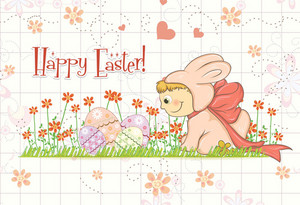 Easter Background With Kid In Bunny Costume Vector Illustration