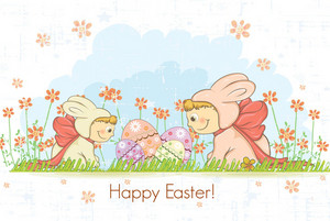 Easter Background With Kids In Bunny Costume Vector Illustration