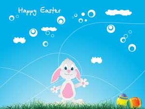 Easter Bunny And Eggs Over Green Grass