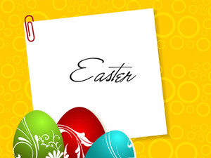 Easter Card With Copy Space And Eggs.