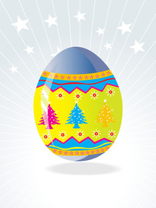 Easter Egg Background With Christmas Tree