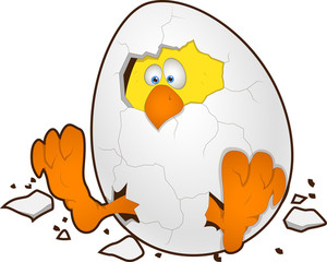 Easter Egg With Chicken - Cartoon Character