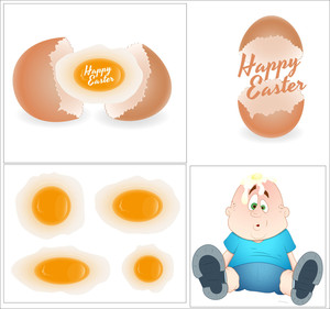 Easter Eggs & Funny Kid Vectors