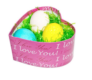 Easter Eggs In Heart Basket