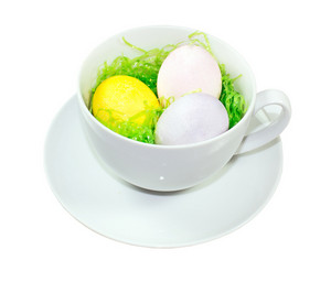 Easter Eggs In Tea Cup