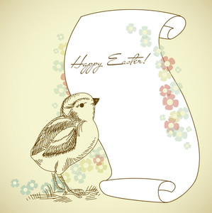 Easter Holiday Illustration With Chick And Space For Your Text