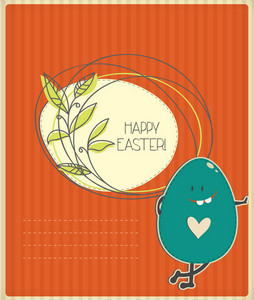 Easter Illustration With Easter Egg,floral Frame And Cloud