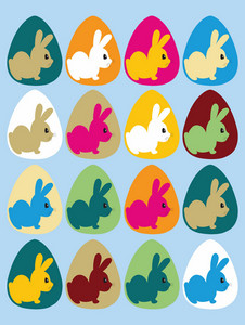 Easter Illustration With Eggs And Beautiful Rabbits