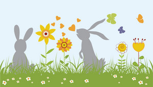Easter Illustration With Floral, Butterflies And Rabbits