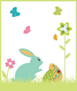 Easter Illustration With Floral, Eggs And Rabbit