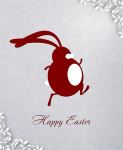 Easter Illustration With Flowal Background, Easter Bunny