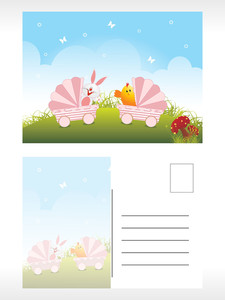 Easter Post Card Illustration