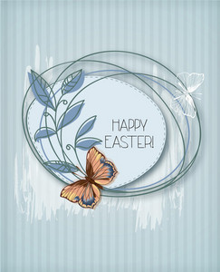Easter Vector Illustration Easter Frame And Butterfly