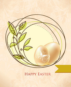 Easter Vector Illustration Easter Frame And Eggs