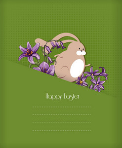 Easter Vector Illustration With Easter Bunny And Spring Flowers