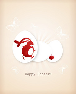Easter Vector Illustration With Easter Egg  And Bunny