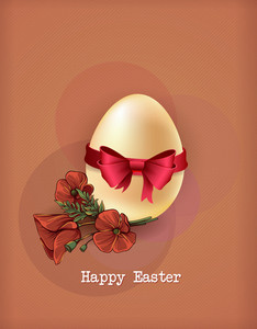 Easter Vector Illustration With Easter Egg And Spring Flowers