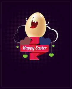 Easter Vector Illustration With Easter Egg,ribbon And Clouds