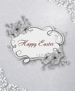 Easter Vector Illustration With Easter Floral Frame
