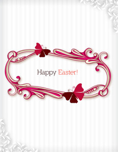 Easter Vector Illustration With Easter Frame
